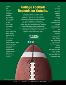 An ad from Yamaha about college football.