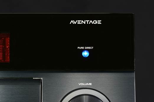 Pure Direct button on the front panel of a Yamaha AVENTAGE AV receiver.