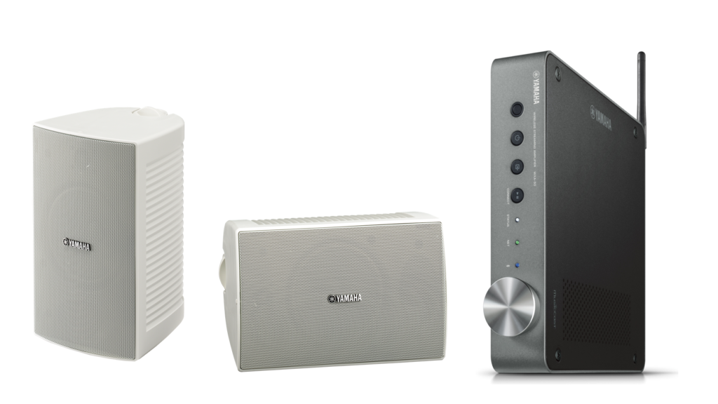 Two wireless speakers and a wireless streaming amplifier.