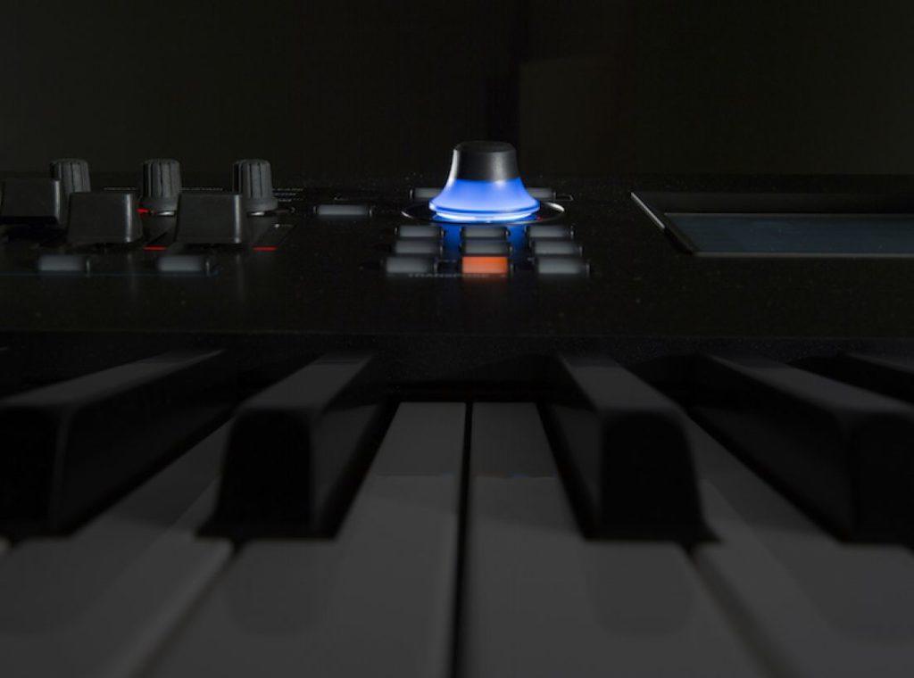 Lit knob on an electronic keyboard.