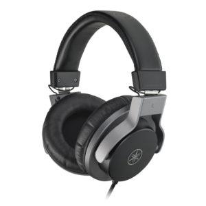 Closeup of headset with Yamaha logo on earpiece.