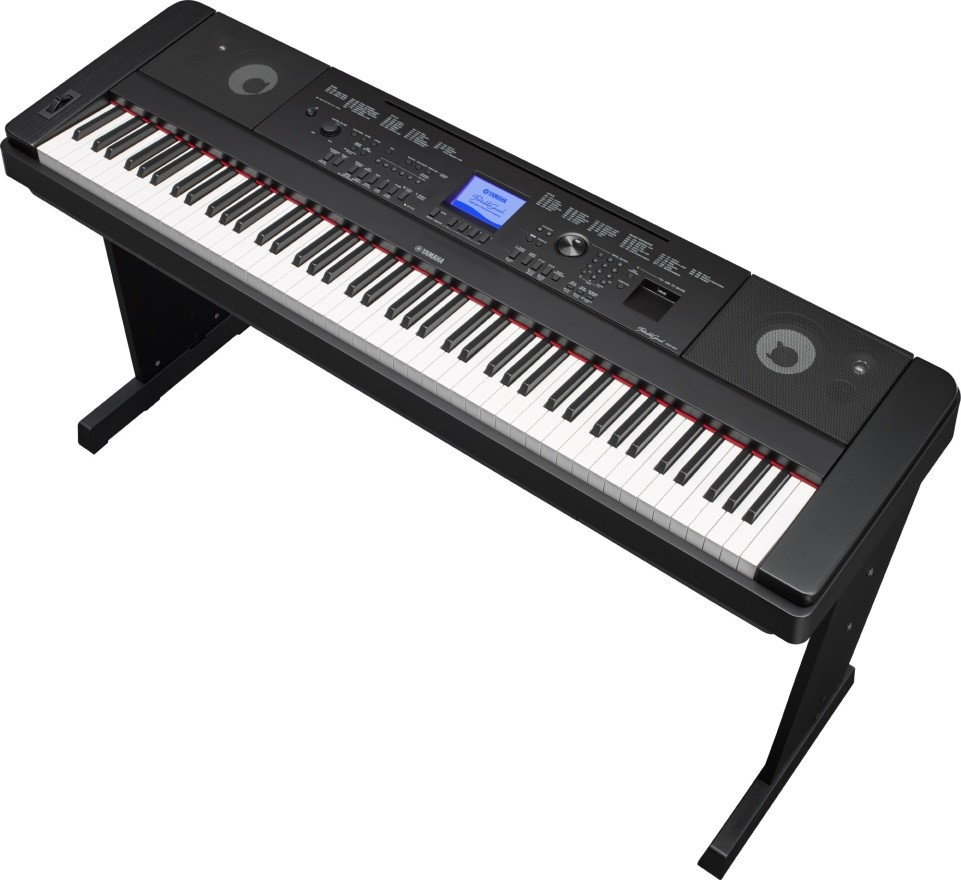 Electronic keyboard on a stand.