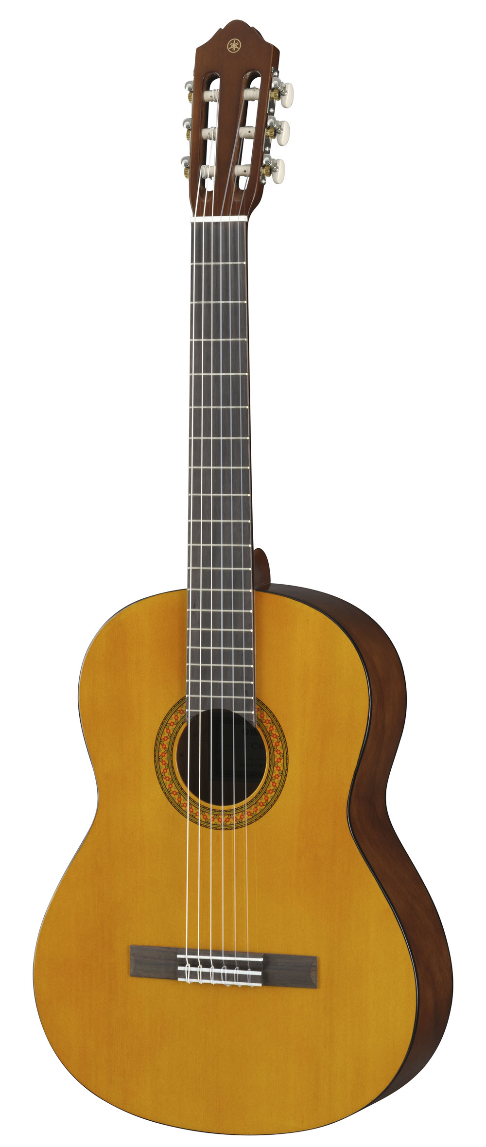 Acoustic guitar with wood finish and nylon strings.