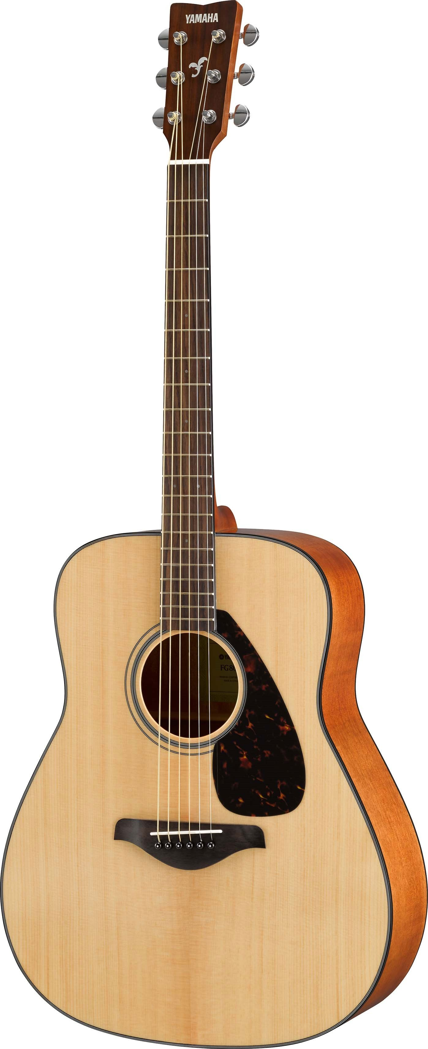 Acoustic guitar with natural wood finish.