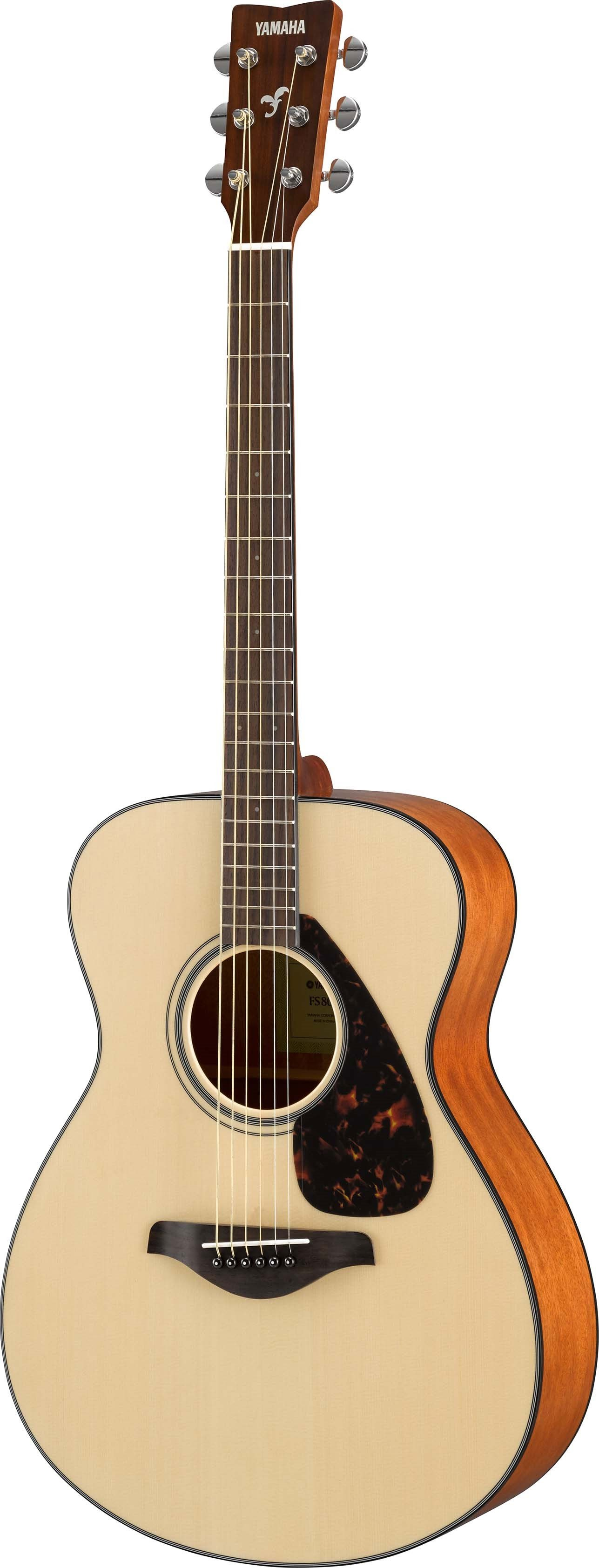 Acoustic guitar with light wood finish.