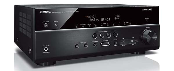 Closeup of front of Yamaha RX-V685 AV receiver.