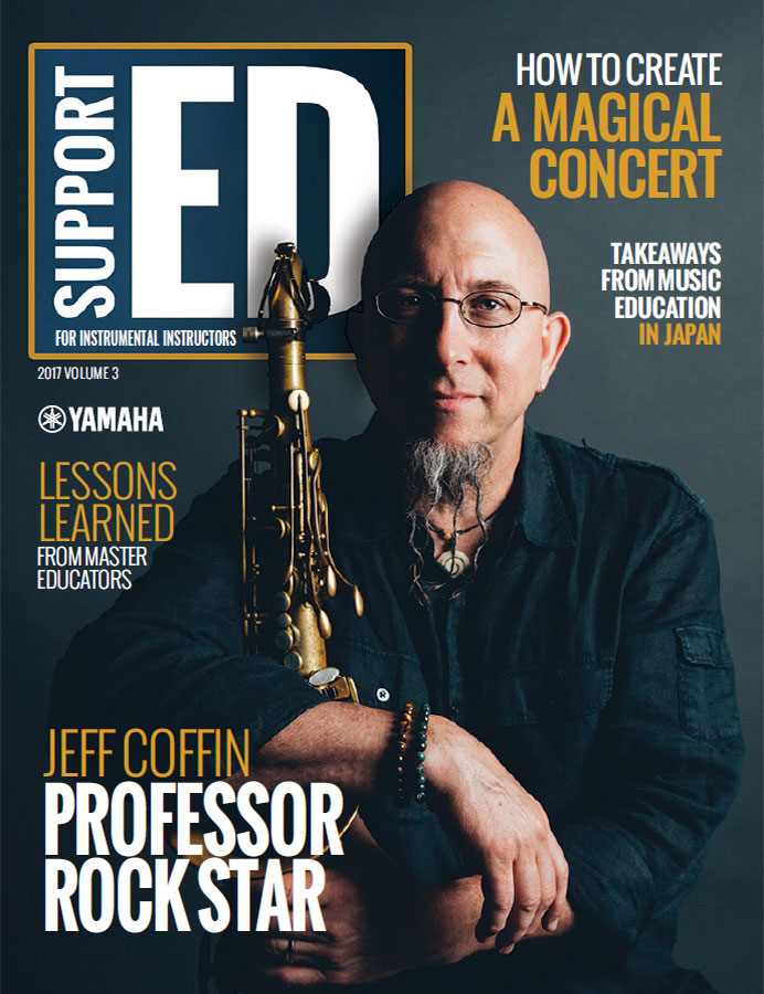 """Cover of Support ED magazine with headshot of Jeff Coffin holding his saxophone and headline """"Professor Rockstar"""". There are additional smaller headlines in smaller print introducing other articles in the magazine."""