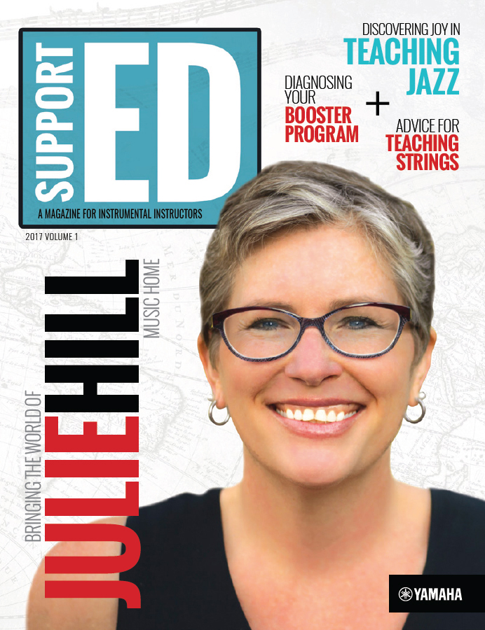 Cover of Support ED magazine with a headshot of band teacher Julie Hill and headlines for other articles.