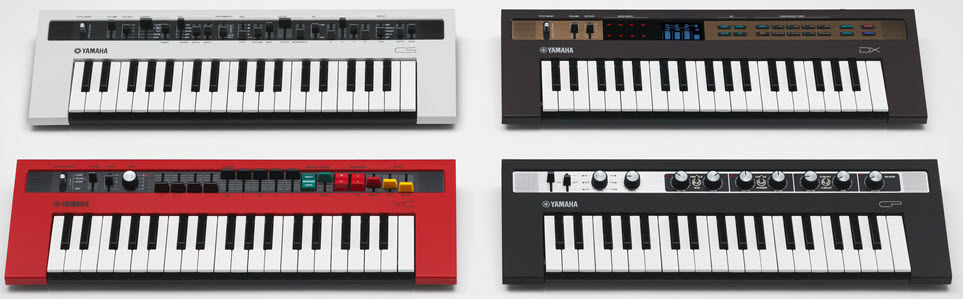 Four small electronic keyboards.