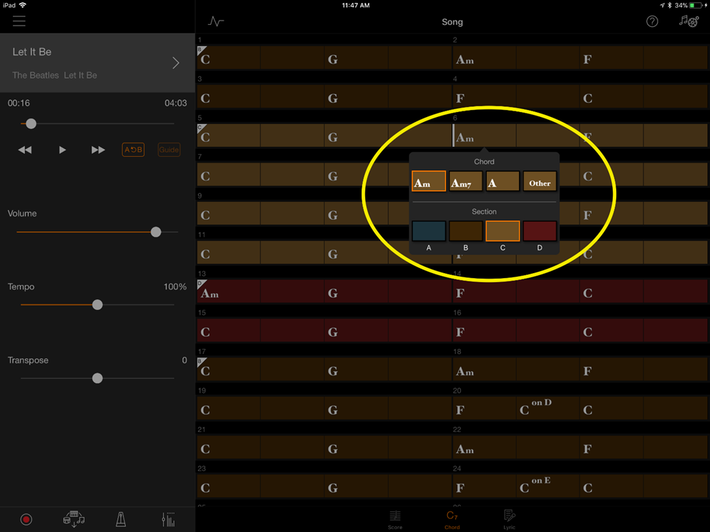 Visual from Smart Pianist app showing how that change looks on screen.