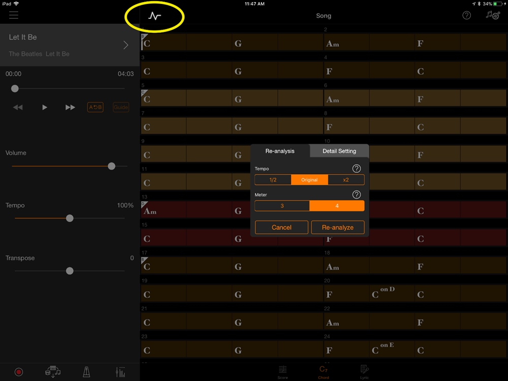 Screenshot from Smart Pianist highlighting the symbol referenced plus how to change the tempo or the meter.