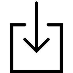 Graphical symbol indicating download file of a black arrow pointing downward into a black outlined box.