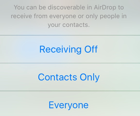 Screenshot of Airdrop menu with options of Receiving Off, Contacts Only, Everyone.