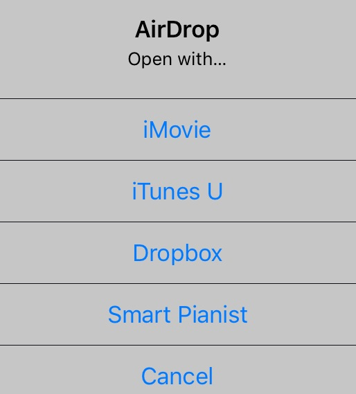 Screenshot of Airdrop interface listing the options to use for opening the file, icluding iMovie, iTunes U, Dropbox, Smart Pianist or Cancel.