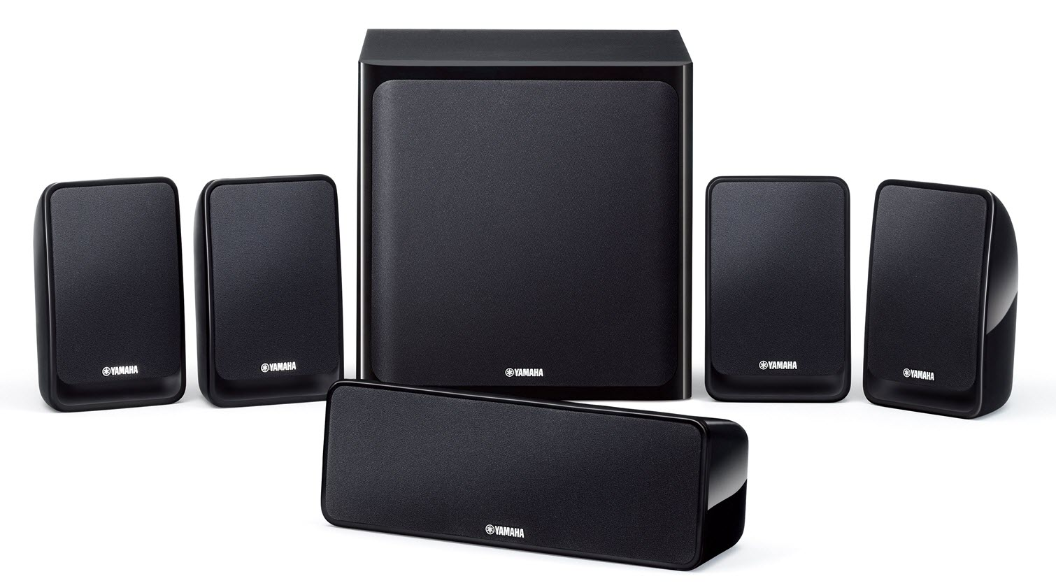 Large square speaker flanked by two pairs of smaller ones with a long thin speaker in front center.