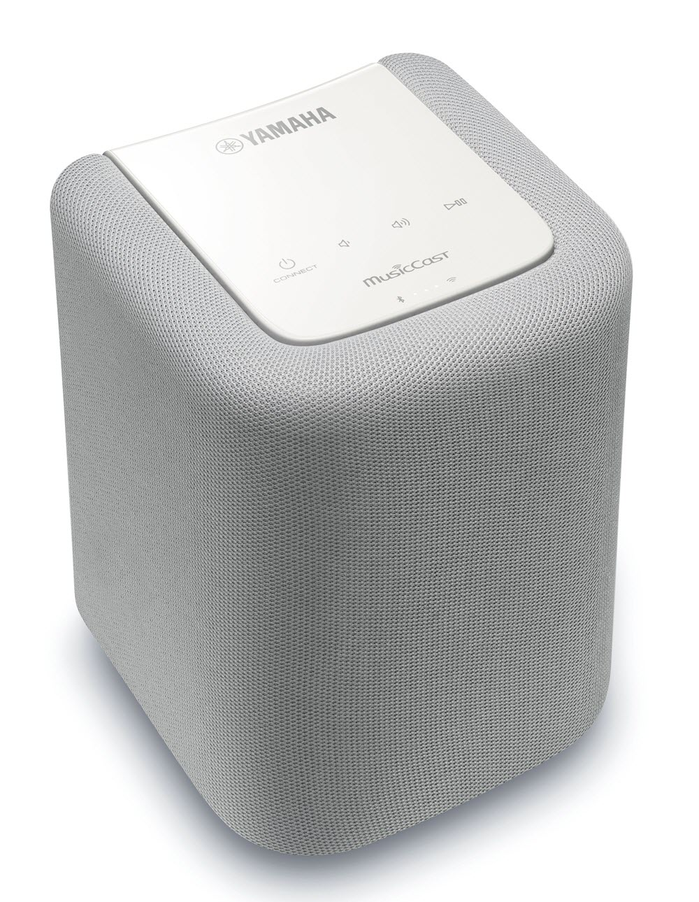 Small rectangulare speaker in a light color with rounded corners.