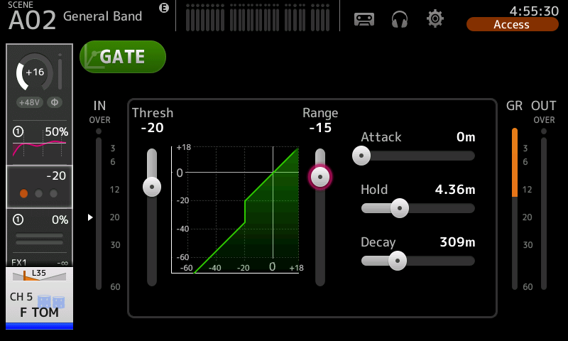 Screenshot of the gate page on the console showing an area graph and other adjustable measures.