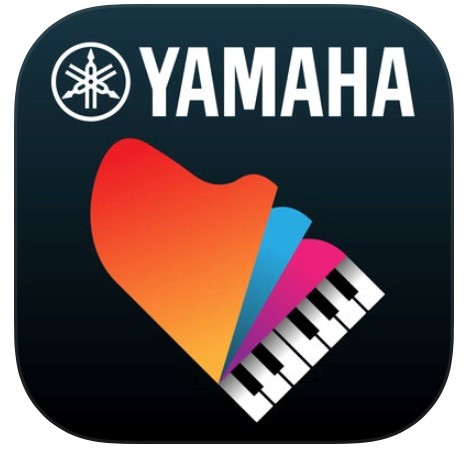 Logo for Yamaha app Smart Pianist that shows a graphic of a piano viewed from above and the lid is multiple layers like a pages of a book that are in motion.