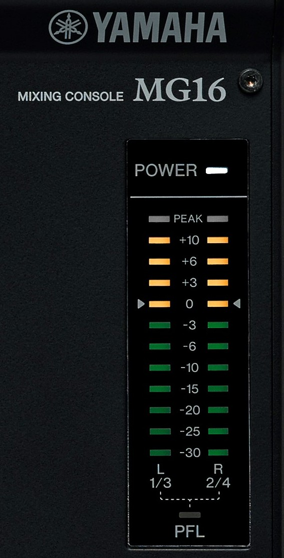 Close-up of the power level and meterage on a sound mixer.