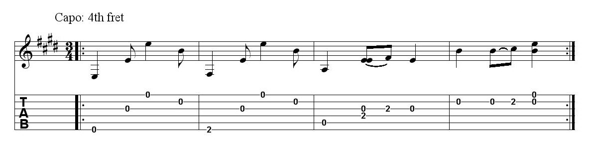 Four measures of musical annotation.