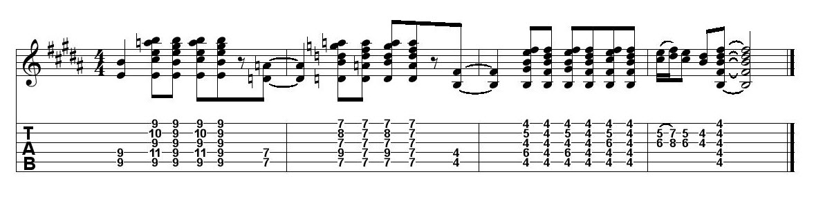 Four measures of music.