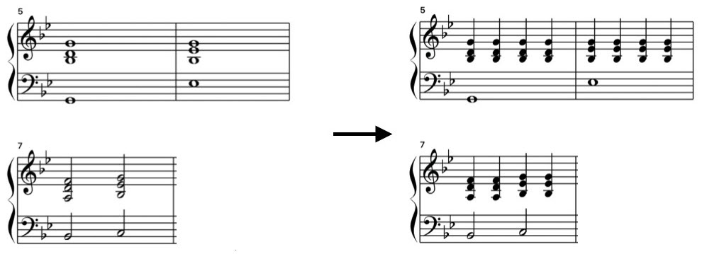 Musical annotation on left with changes applied on right.