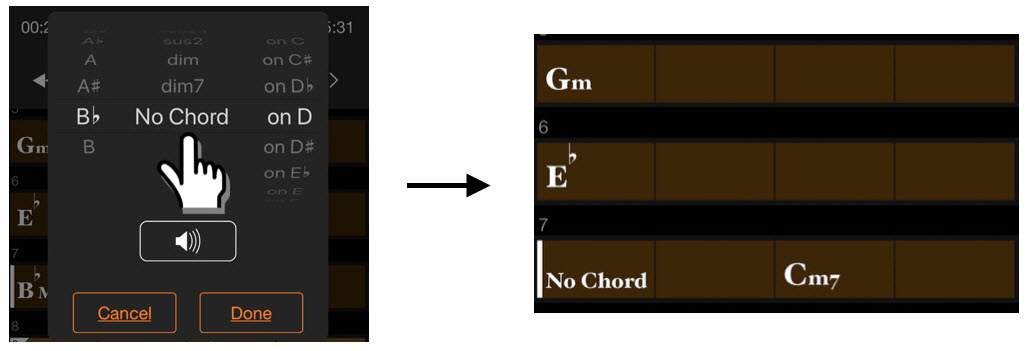 "Screenshot of app showing results of choosing ""No Chord""."