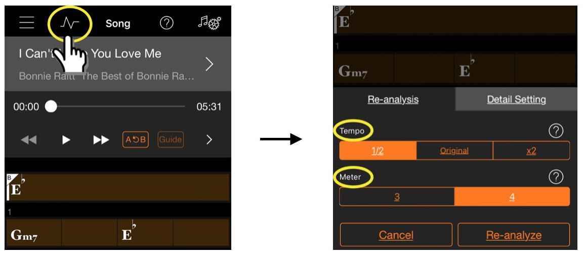 Screenshot highlighting choices made and resulting action.