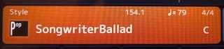 """Screen displaying """"Songwriter Ballad""""."""
