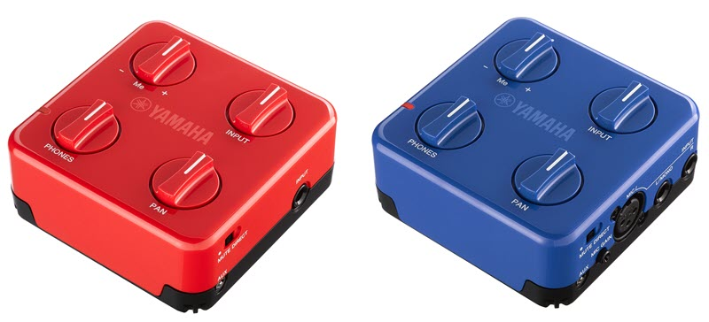 Two square controllers in different colors.