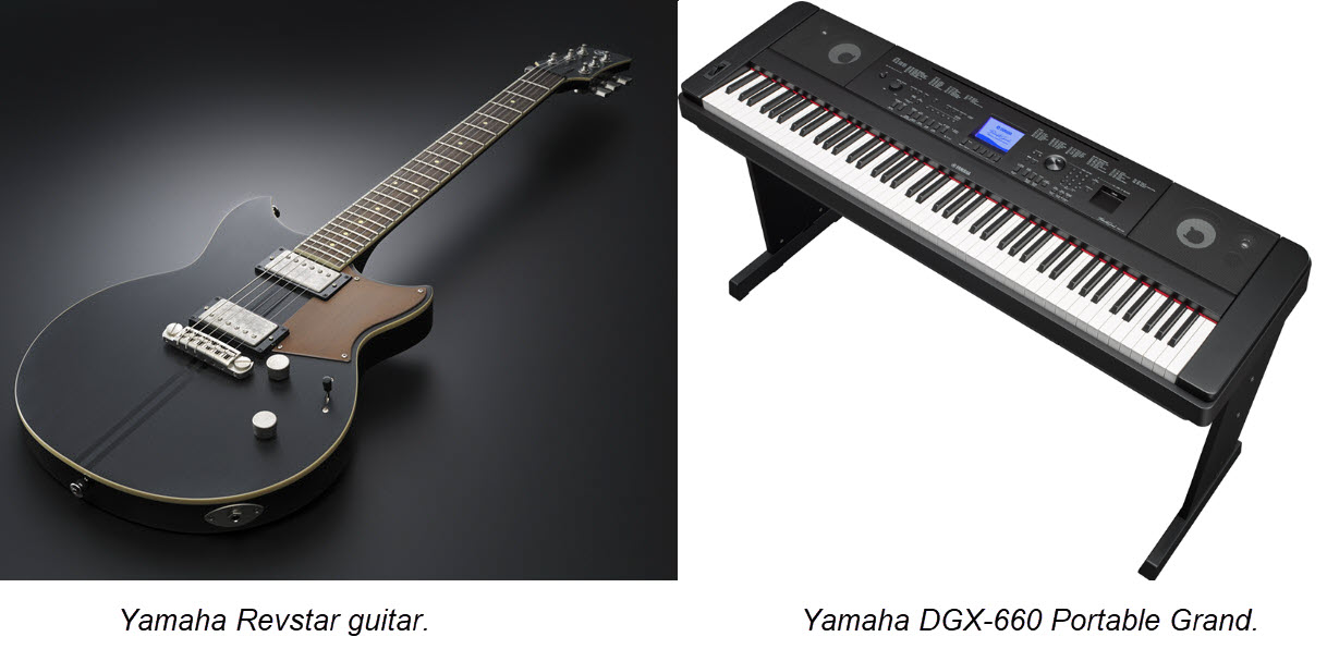 Guitar on flat surface. Keyboard on a stand.