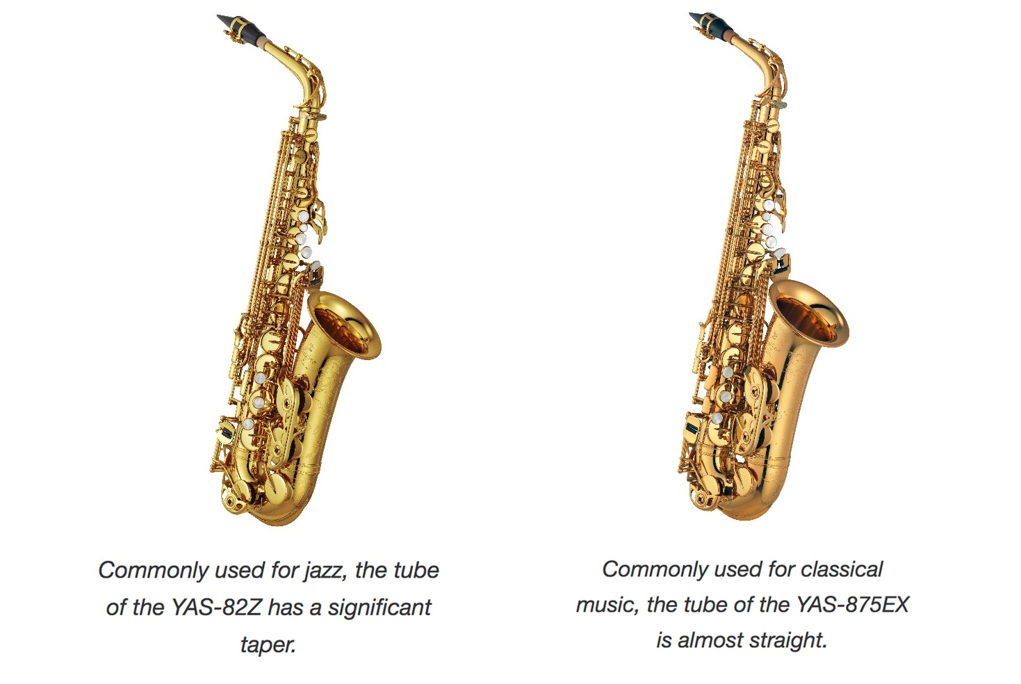 Two saxophones side by side.
