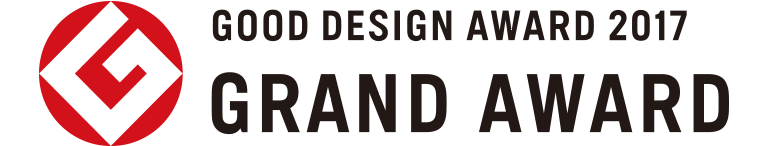 "Logo and text stating ""Good Design Award 2017, Grand Award""."