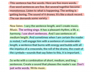 This sentence has five words. Here are five more words. Five-word sentences are fine. But several together become monotonous. Listen to what is happening. This writing is getting boring. The sound of it drones. It's like a stuck record. The ear demands some variety. Now listen. I vary the sentence length, and I create music. Music. The writing sings. It has a pleasant rhythm, a lilt, a harmony. I use short sentences. And I use a sentences of medium length. And sometimes when I'm certain the reader is rested, I will engage him with a sentence of considerable length, a sentence that burns with energy and builds with all the impetus of a crescendo, the roll of the drums, the crash of the cymbals--sounds that say listen to this, it is important. So write with a combination of short, medium, and long sentences. Create a sound that pleases the reader's ear. Don't just write words. Write music. - Gary Provost