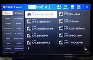 Display screen with CFX Concert Grand chosen.