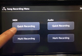 Someone choosing Quick Recording from options.