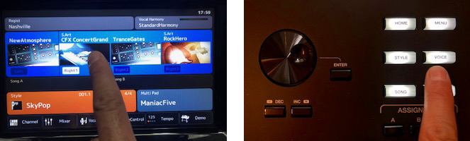Two examples of choosing from a dashboard, one is a touchscreen, the other are buttons.