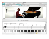Screenshot with keyboard at bottom and image of someone sitting at a piano above.