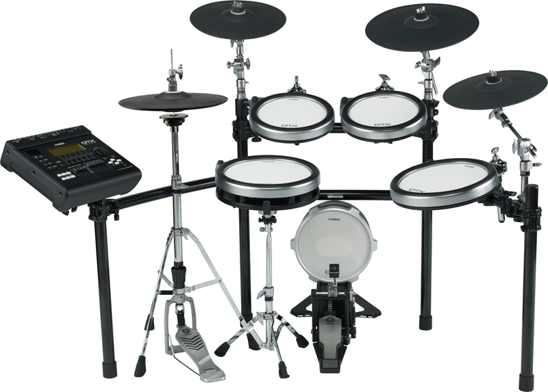 Electronic drum kit with multiple elements.