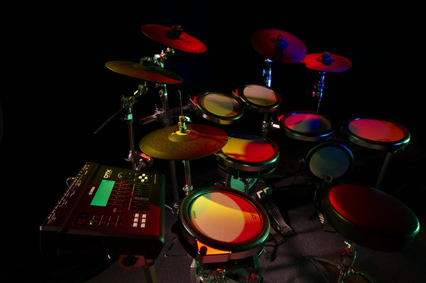 View of electronic drum kit.
