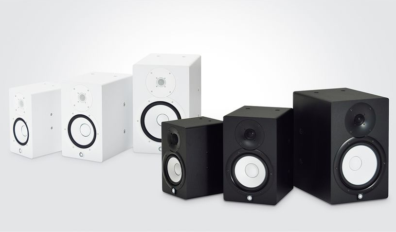 Set of 3 white speakers and 3 black speakers.