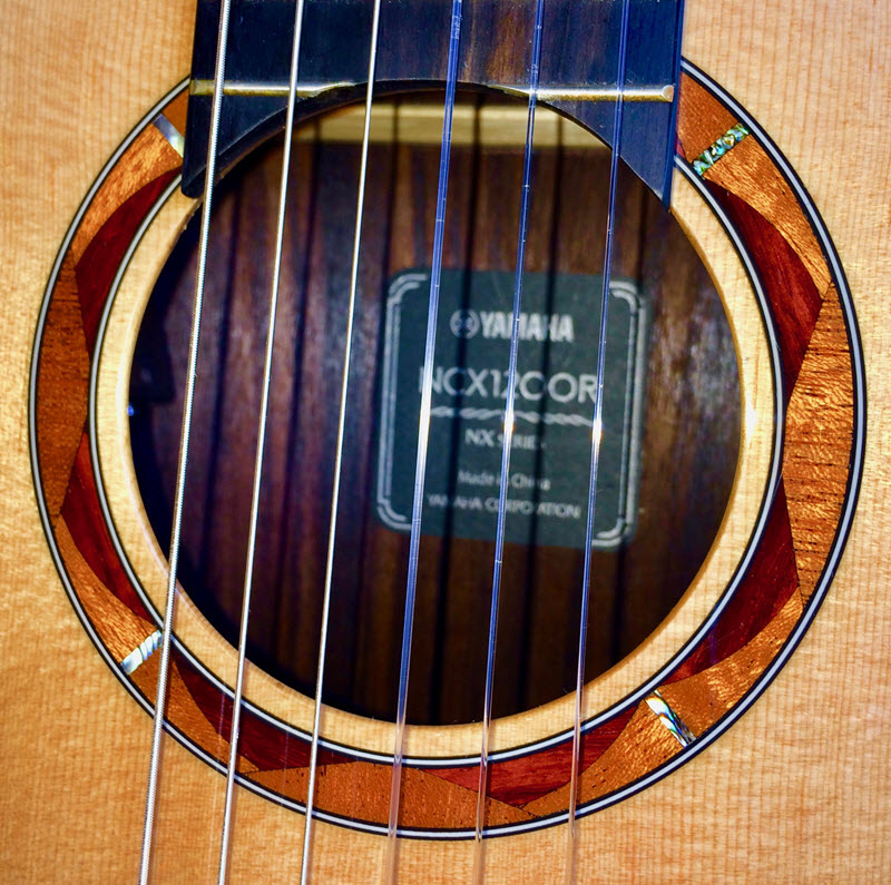 Label inside a guitar as seen through the strings.