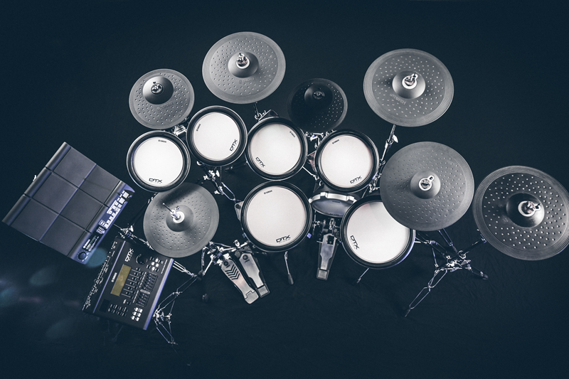 View of advanced drum kit from above.