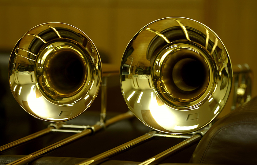 Photo of small and large trombone bells.