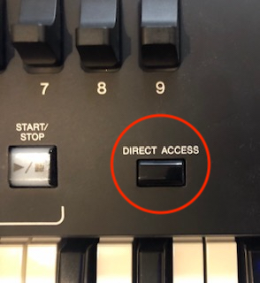 Close-up of direct access button on controls.