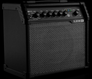 Large rectangular guitar amp with row of knobs and inputs along top front edge.
