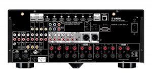 Rear panel of AV receiver showing input/outputs.