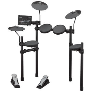 Set of electronic drums with 4 pads, three cymbals, two pedals and control panel.