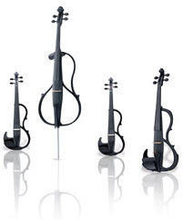 Four open bodied stringed instruments: two violins, a viola and a cello.