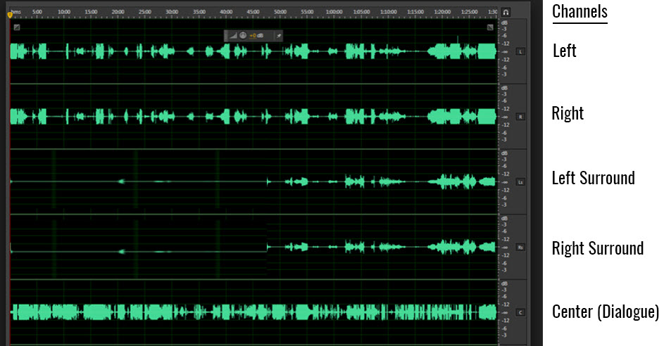 Screenshot showing full lines of audio on center, left and right and half lines of signal on left surround and right surround (rear speakers).